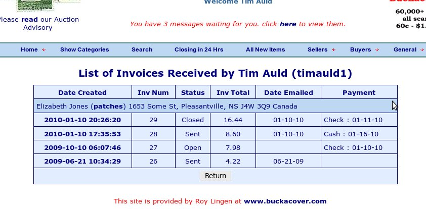 List of your invoices