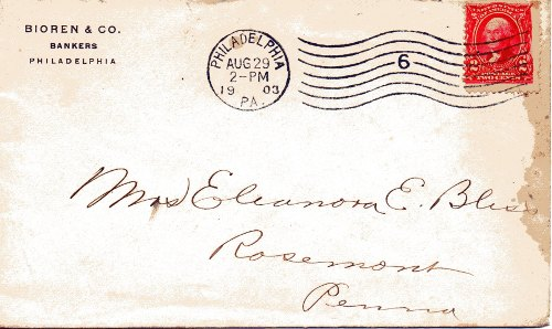 Cover addressed to Eleanora E. Bliss