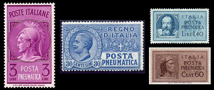 Italian pneumatic post stamps