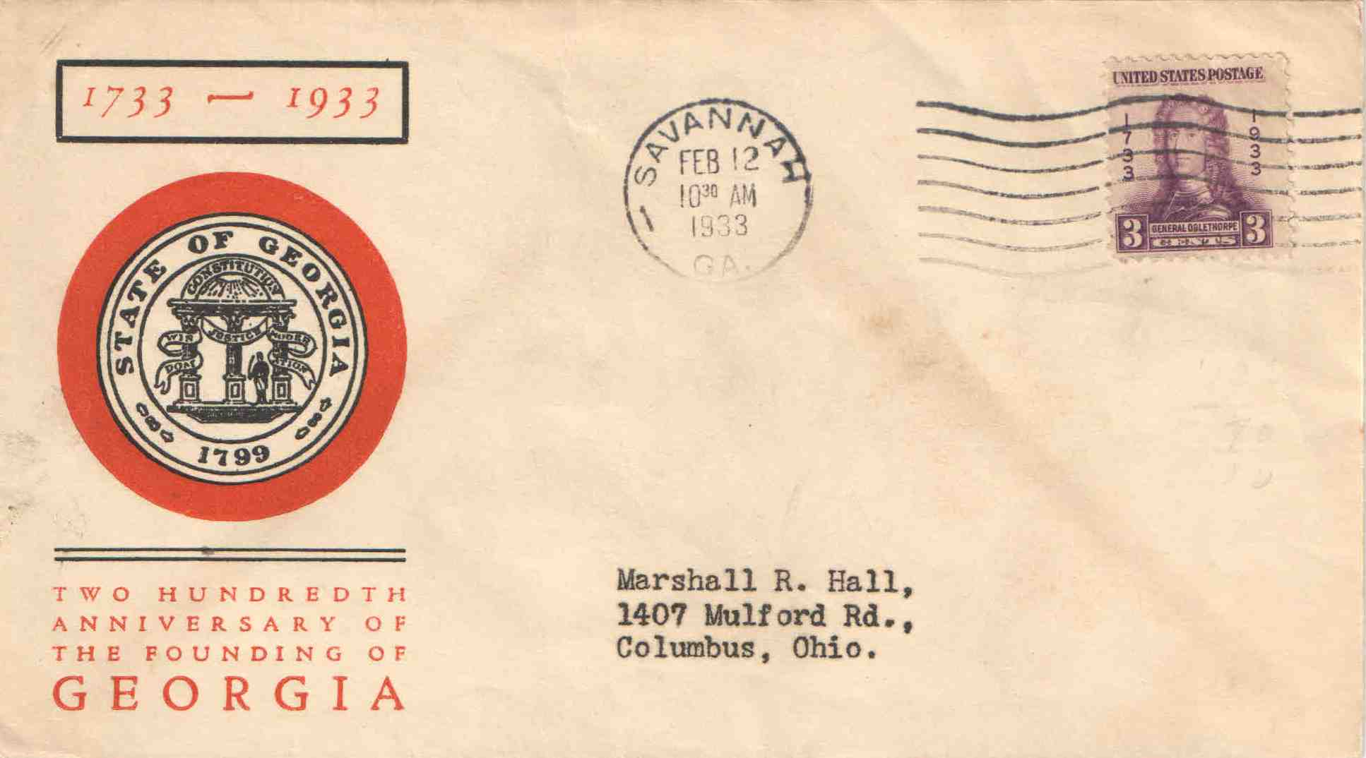 Oglethorpe First Day Cover